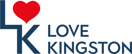Love Kingston long navy logo