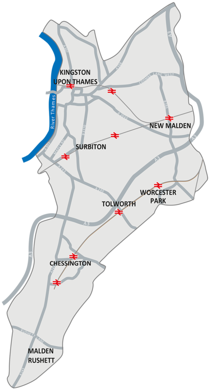 Map of the Royal Borough of Kingston upon Thames