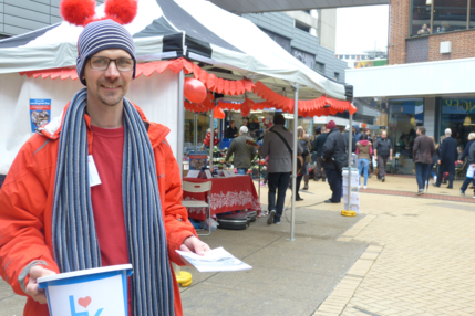 Matt Hatton collects funds at Eden Walk on Love Kingston Day